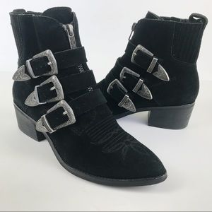 Dolce Vita Scott Pointed Toe Western Suede Witchy Buckle Bootie Size 6